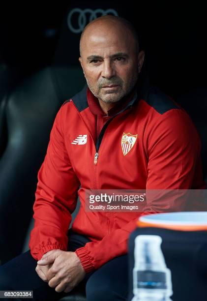 Sevilla manager Jorge Sampaoli looks on prior the La Liga match between Real Madrid CF and Sevilla CF at Estadio Santiago Bernabeu on May 14 2017 in...