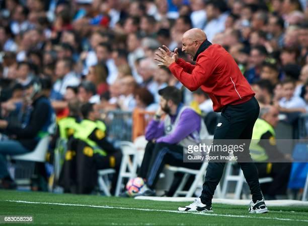 Sevilla manager Jorge Sampaoli reacts during the La Liga match between Real Madrid CF and Sevilla CF at Estadio Santiago Bernabeu on May 14 2017 in...