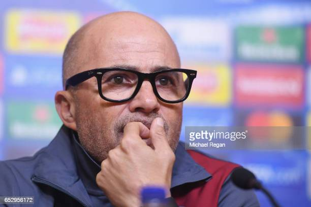 Sevilla manager Jorge Sampaoli speaks to the media during the Sevilla press conference at The King Power Stadium on March 13 2017 in Leicester England