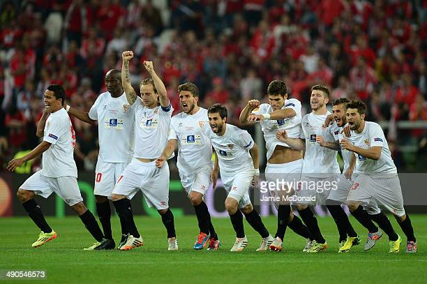 Sevilla players celebrate after Kevin Gameiro of Sevilla scores the winning penalty in the shoot out during the UEFA Europa League Final match...