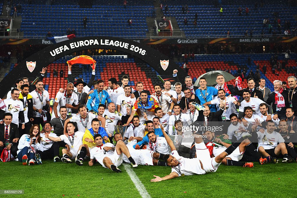 Sevilla players celebrate the Europa League champions after the award ceremoy of the UEFA Europa League Final match between Liverpool and Sevilla at...