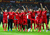 Sevilla players celebrate victory after the UEFA Europa League Final match between FC Dnipro Dnipropetrovsk and FC Sevilla on May 27 2015 in Warsaw...