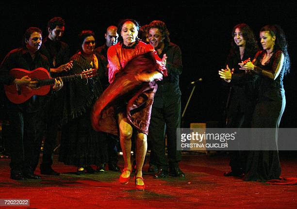 Flamenco dancer Carmen Cortes takes part in a rehearsal for the show 'Lorca's women' part of the XIV Flamenco Biennial at the Lope de Vega theatre in...