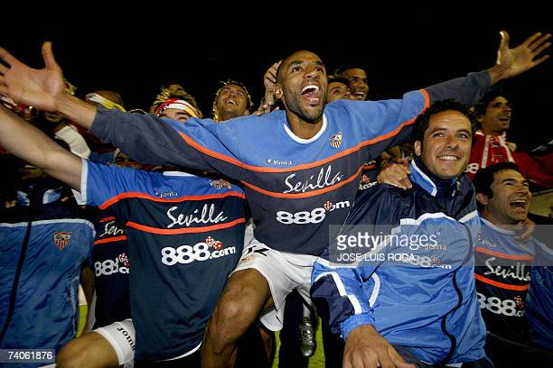 Seville players celebrate after beating Osasuna 20 in their UEFA Cup semifinal football match at the Sanchez Pizjuan stadium in Sevilla 03 May 2007...