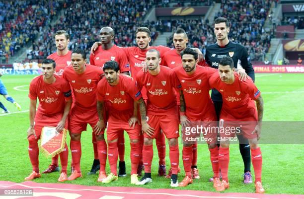 Sevilla team group Grzegorz Krychowiak Stephane M'bia Daniel Carrico Timothee Kolodziejczak and Sergio Rico Jose Antonio Reyes Carlos Bacca Ever...