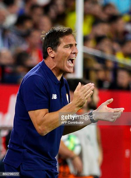 Sevilla's Argentinian coach Eduardo Berizzo encourages his team during the Spanish league football match Sevilla FC against UD Las Palmas at the...