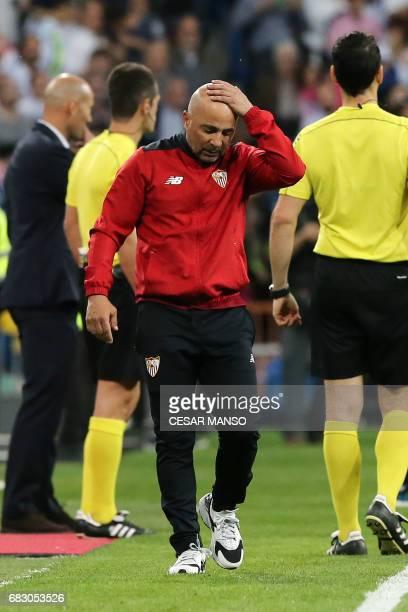 Sevilla's Argentinian coach Jorge Sampaoli gestures during the Spanish league football match Real Madrid vs Sevilla at the Santiago Bernabeu stadium...