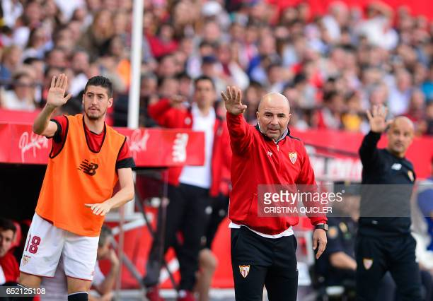 Sevilla's Argentinian coach Jorge Sampaoli gestures on the sideline during the Spanish league football match Sevilla FC vs Club Deportivo Leganes SAD...