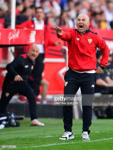 Sevilla's Argentinian coach Jorge Sampaoli gestures on the sideline during the Spanish league football match Sevilla FC vs Club Deportivo Leganes SAD...