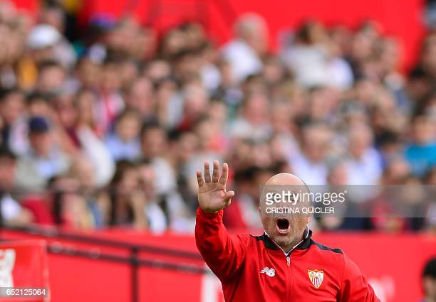 Sevilla's Argentinian coach Jorge Sampaoli gestures on the sidelines during the Spanish league football match Sevilla FC vs Club Deportivo Leganes...