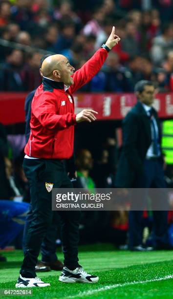 Sevilla's Argentinian coach Jorge Sampaoli gives instructions to his players during the Spanish league football match Sevilla FC vs Athletic Club...