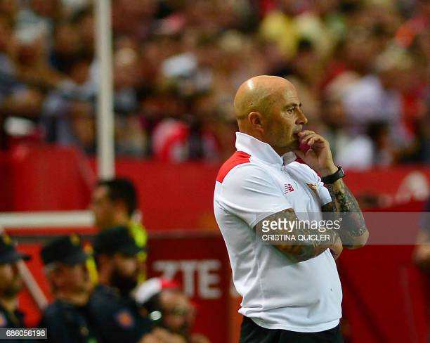 Sevilla's Argentinian coach Jorge Sampaoli looks on during the Spanish league football match Sevilla FC vs CA Osasuna at the Ramon Sanchez Pizjuan...