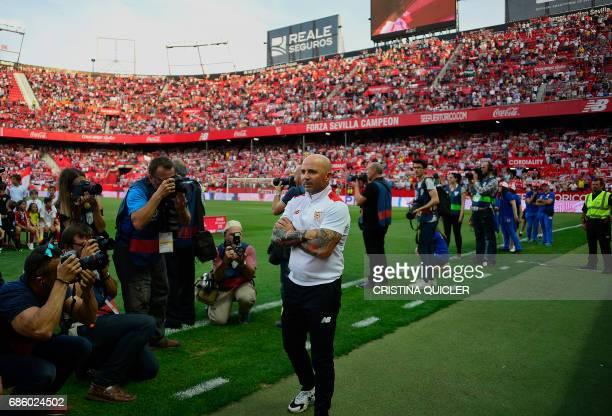 Sevilla's Argentinian coach Jorge Sampaoli stands before his last game as a coach before the Spanish league football match Sevilla FC vs CA Osasuna...