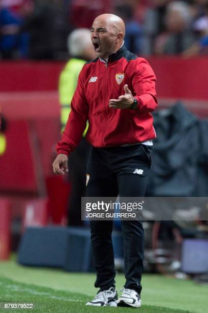 Sevilla's Argentinian head coach Jorge Sampaoli gestures from the sideline during the Spanish league football match Sevilla FC vs Real Sociedad at...
