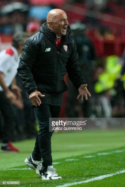 Sevilla's Argentinian head coach Jorge Sampaoli shouts during the Spanish league football match Sevilla FC vs RC Celta de Vigo at the Ramon Sanchez...
