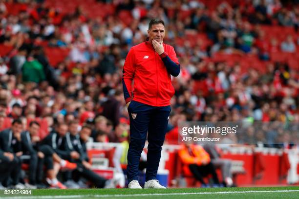 Sevilla's Argentinian manager Eduardo Berizzo gestures from the touchline during the preseason friendly football match between RB Leipzig and Sevilla...
