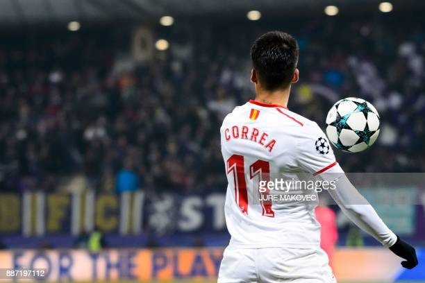 Sevilla's Argentinian midfielder Joaquin Correa controls the ball during the UEFA Champions League Group E football match between NK Maribor and...