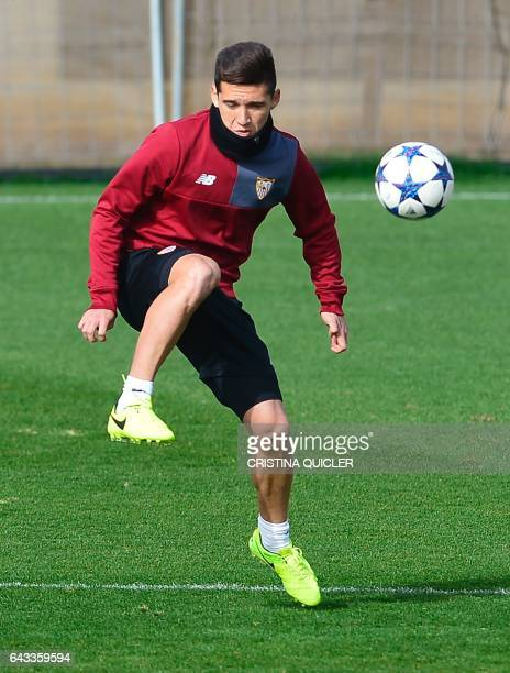 Sevilla's Argentinian midfielder Matias Kranevitter takes part in a training session on the eve of their UEFA Champions League football match against...