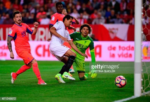 Sevilla's Brazilian midfielder Ganso scores during the Spanish league football match Sevilla FC vs Granada FC at the Ramon Sanchez Pizjuan stadium in...