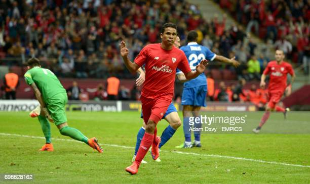 Sevilla's Carlos Bacca celebrates scoring his side's third goal of the game
