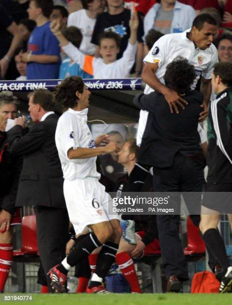 Sevilla's Clemente Luis Fabiano celebrates his goal as Middlesbrough manager Steve McClaren looks away during the UEFA Cup Final at PSV Stadion...