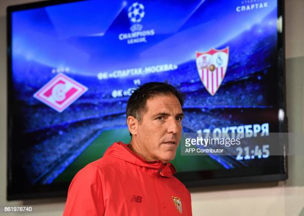 Sevilla's coach from Argentina Eduardo Berizzo arrives to give a press conference at the Otkrytie Arena stadium in Moscow on October 16 2017 on the...