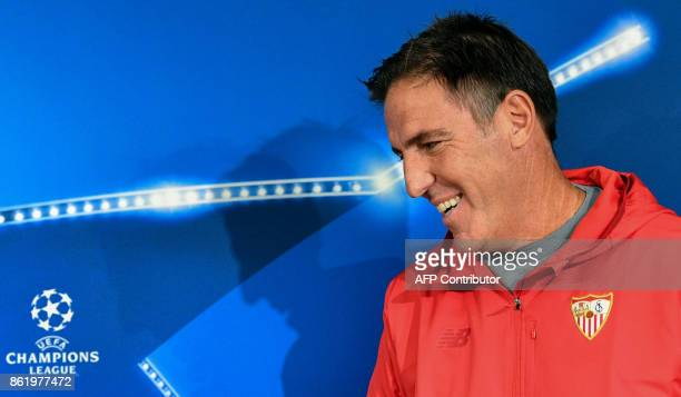 Sevilla's coach from Argentina Eduardo Berizzo attends a press conference at the Otkrytie Arena stadium in Moscow on October 16 2017 on the eve of...