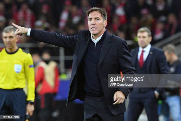 Sevilla's coach from Argentina Eduardo Berizzo gestures from the touchline during the UEFA Champions League Group E football match between FC Spartak...