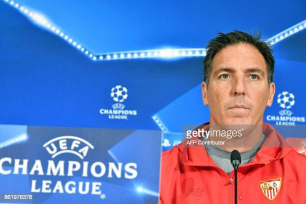 Sevilla's coach from Argentina Eduardo Berizzo gives a press conference at the Otkrytie Arena stadium in Moscow on October 16 2017 on the eve of the...