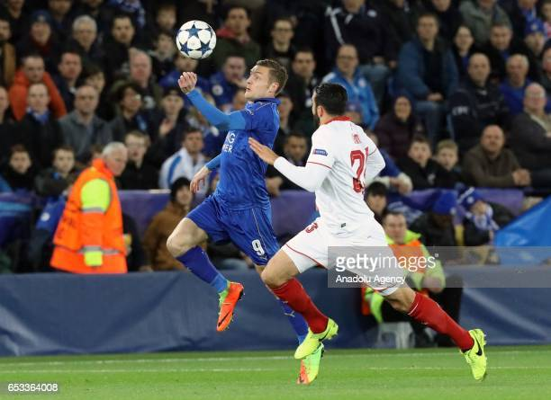 Sevilla's defender Adil Rami in action against Leicester City's striker Jamie Vardy during their Champions League Round of 16 Game 2 match between...