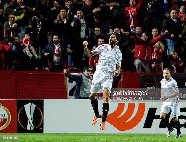 Sevilla's forward Fernando Llorente celebrates a goal during the UEFA Europa League Round of 32 first leg football match Sevilla FC vs Molde FK at...