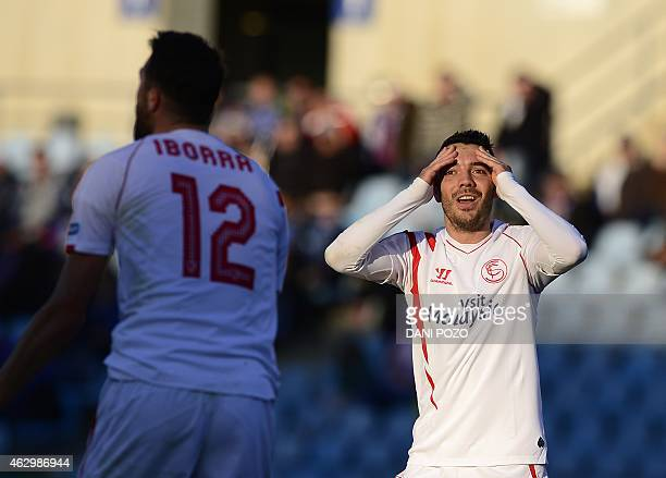 Sevilla's forward Iago Aspas reacts after scoring during the Spanish league football match Getafe CF vs Sevilla FC at the Coliseum Alfonso Perez...
