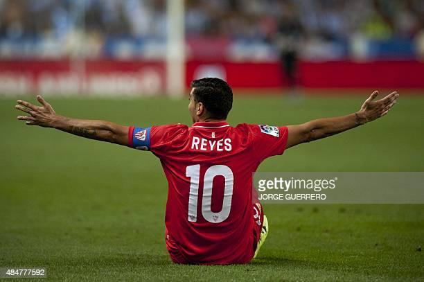 Sevilla's forward Jose Antonio Reyes gestures during the Spanish league football match Malaga CF vs Sevilla FC at La Rosaleda stadium in Malaga on...