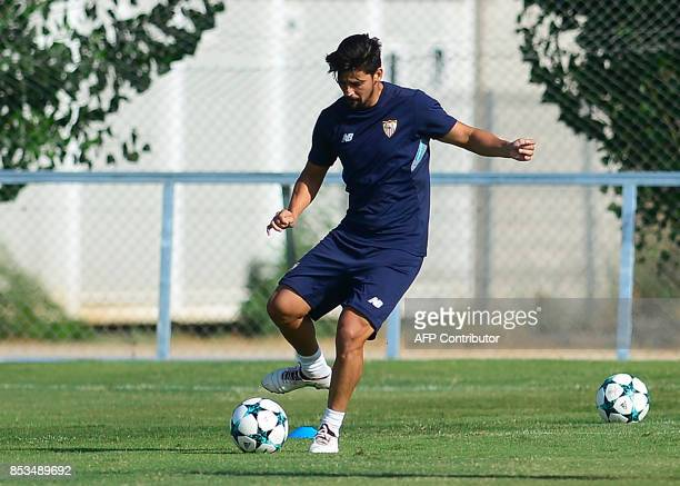 Sevilla's forward Nolito controls the ball during a training session at the Ciudad Deportiva training ground in Sevilla on September 25 2017 on the...