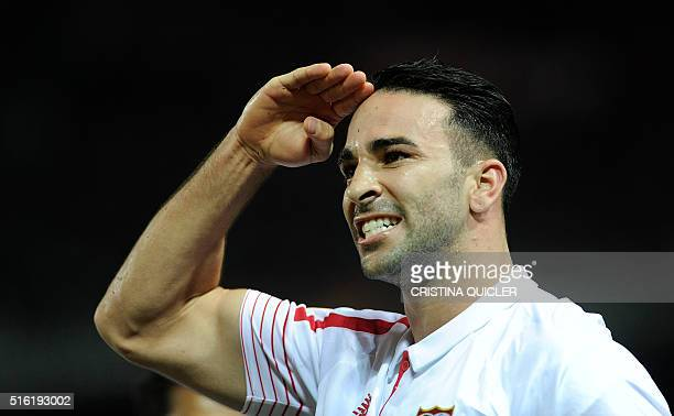 Sevilla's French defender Adil Rami celebrates a goal during the UEFA Europa League round of 16 second leg football match between Sevilla FC vs FC...