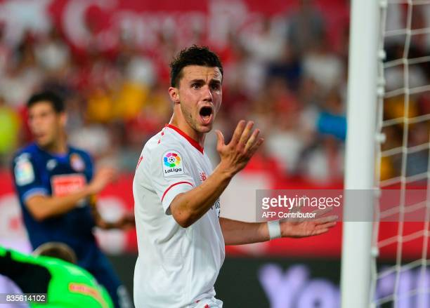 Sevilla's French defender Sebastien Corchia reacts to a decision of the referee during the Spanish league football match Sevilla FC vs Espanyol at...