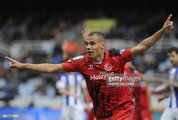 Sevilla's French defender Timothee Kolodziejczak celebrates after scoring during the Spanish league football match Real Sociedad de Futbol vs Sevilla...