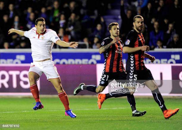 Sevilla's French forward Wissam Ben Yedder celebrates after scoring his team's first goal during the Spanish league football match Deportivo Alaves...
