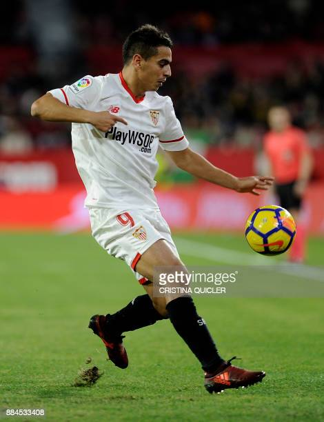 Sevilla's French forward Wissam Ben Yedder controls the ball during the Spanish league football match Sevilla FC vs RC Deportivo de la Coruna at the...