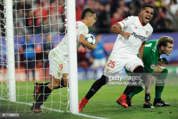 Sevilla's French forward Wissam Ben Yedder reacts after scoring a goal on November 21 2017 at the Ramon Sanchez Pizjuan stadium in Sevilla during the...