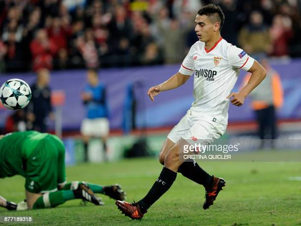 Sevilla's French forward Wissam Ben Yedder scores a goal on November 21 2017 at the Ramon Sanchez Pizjuan stadium in Sevilla during the UEFA...