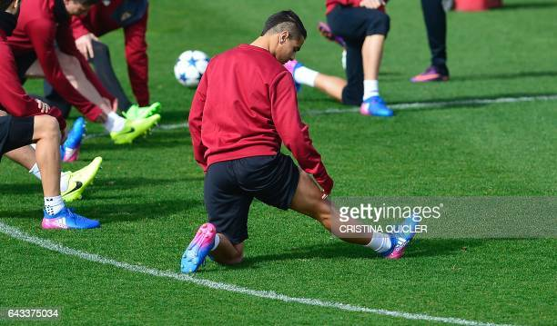 Sevilla's French forward Wissam Ben Yedder takes part in a training session on the eve of their UEFA Champions League football match against...