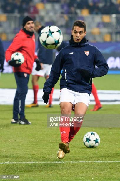 Sevilla's French forward Wissam Ben Yedder warms up prior to the UEFA Champions League Group E football match between NK Maribor and Sevilla FC at...