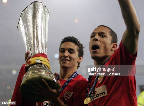 Sevilla's Jesus Navas and Adriano celebrate after winning the Uefa Cup
