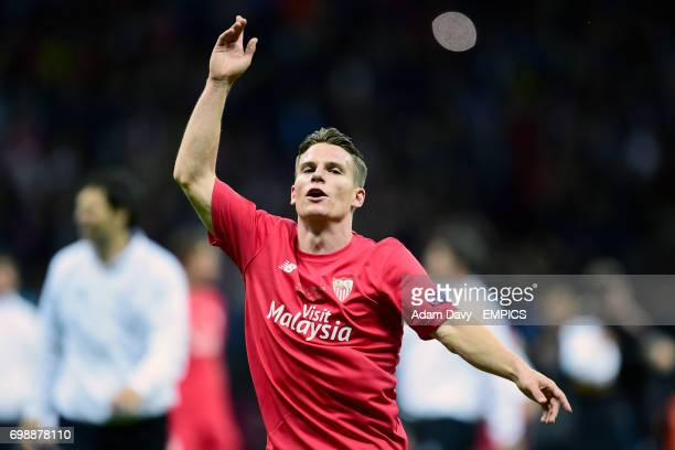 Sevilla's Kevin Gameiro celebrates at the end of the game