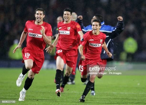 Sevilla's Luis Marti Luis Fabiano and Jesus Navas celebrate winning the Uefa Cup