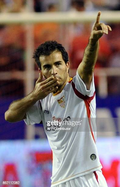 Sevilla's Maresca celebrates after scoring against Espanyol during the Spanish league football match at the Sanchez Pizjuan stadium in Sevilla on...