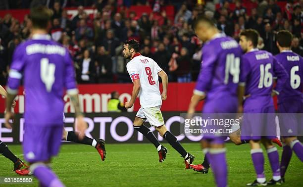 Sevilla's midfielder Iborra celebrates after scoring during the Spanish Copa del Rey round of 16 second leg football match Sevilla FC vs Real Madrid...