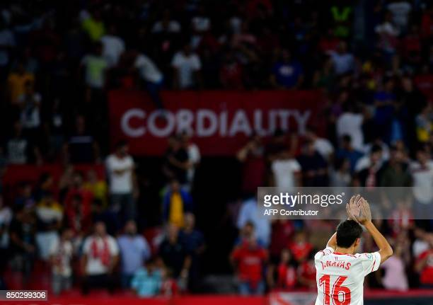 Sevilla's midfielder Jesus Navas celebrates after scoring a goal during the Spanish league football match Sevilla FC against UD Las Palmas at the...