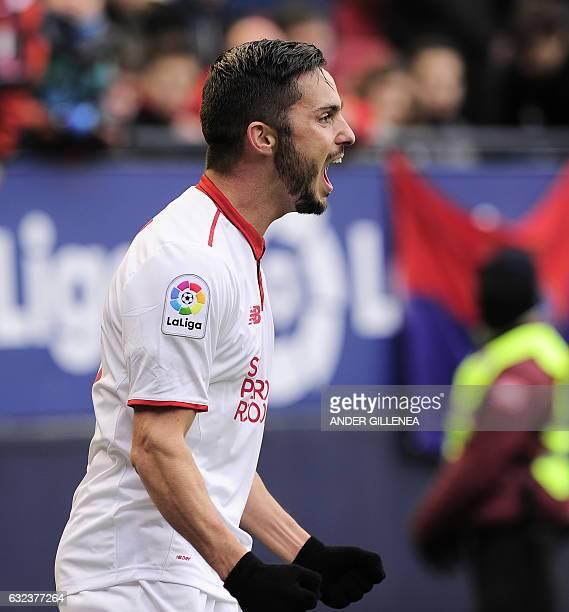 Sevilla's midfielder Pablo Sarabia celebrates after scoring his team's fourth goal during the Spanish league football match CA Osasuna vs Sevilla FC...